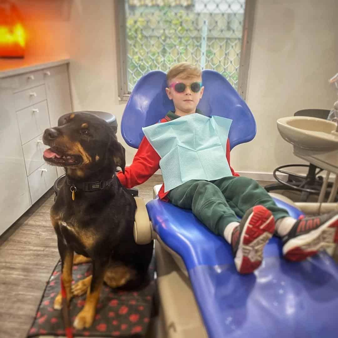 boy in dental chair
