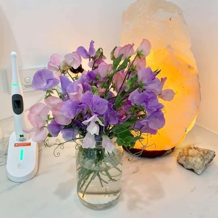 flowers and salt lamp